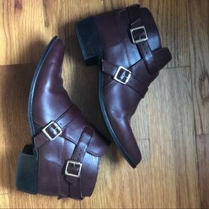 Zara Maroon Ankle Chelsea Boots Size 38